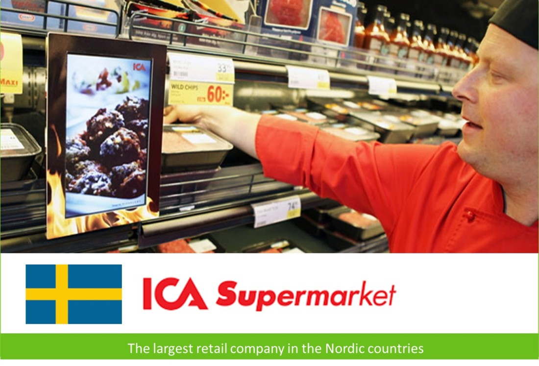 Smart signboard at Swedish chain supermarket ICA