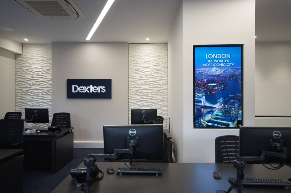 Estate agent office design Wall Paper Digital Signage At Dexter London Estate Agents Hd Wallpapers Collections 9175ml Dynamic Video Walls For Dexters London Estate Agents Iadea