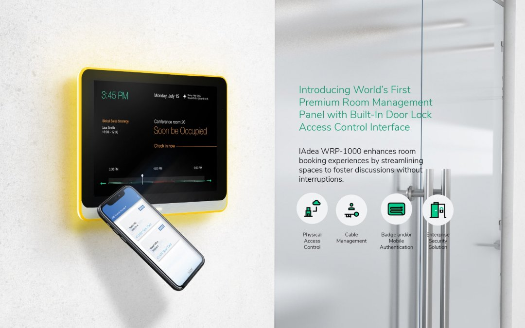 DST: IAdea Introduces the World's first HID Mobile Access Room Booking Panel with Physical Access Control